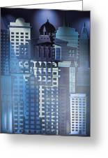 Downtown Abstract - Blue Mist Greeting Card