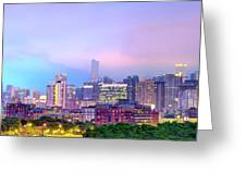 Downtown Chicago Cityscape Skyline Panorama Greeting Card by Gregory Ballos
