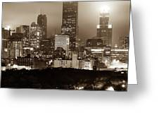 Downtown Chicago Illinois Skyline - Sepia Edition Greeting Card by Gregory Ballos