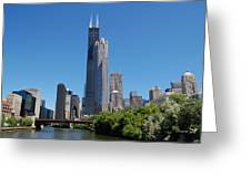 Downtown Chicago Skyline - View Along The River Greeting Card by Suzanne Gaff