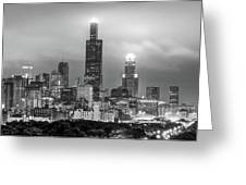 Downtown Chicago Skyline In Black And White  Greeting Card by Gregory Ballos