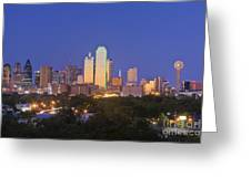 Downtown Dallas Skyline At Dusk Greeting Card