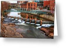 Downtown Greenville On The River Winter Greeting Card