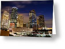Downtown Houston At Night Greeting Card by Olivier Steiner