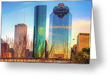 Downtown Houston Texas Skyline  Greeting Card