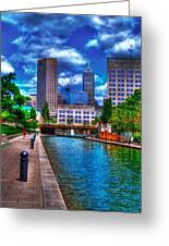 Downtown Indianapolis Canal Greeting Card