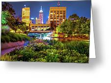Downtown Indianapolis Skyline At Night Greeting Card by Gregory Ballos