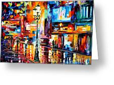 Downtown Lights - Palette Knife Oil Painting On Canvas By Leonid Afremov Greeting Card