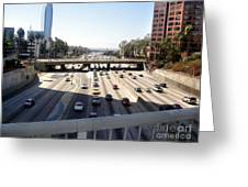 Downtown Los Angeles. 110 Freeway And Wilshire Bl Greeting Card