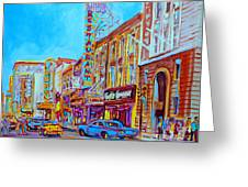 Downtown Montreal Street Rue Ste Catherine Vintage City Street With Shops And Stores Carole Spandau  Greeting Card