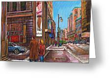 Downtown Montreal Streetscene At La Senza Greeting Card