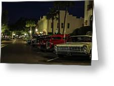 Downtown Old Cars Greeting Card