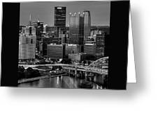 Downtown Pittsburgh At Twilight - Black And White Greeting Card