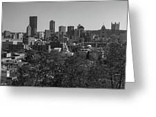 Downtown Pittsburgh In Black And White Greeting Card