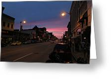 Downtown Racine At Dusk Greeting Card