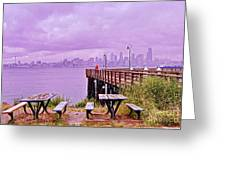 Downtown Seattle As Seen From Alki Beach Greeting Card