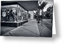 Downtown Sidewalk In Black And White Greeting Card