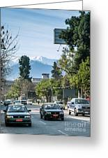 Downtown Street In Santiago De Chile City And Andes Mountains Greeting Card