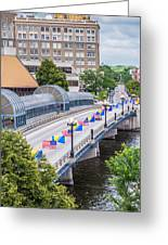 Downtown Waterloo Iowa Bridge Greeting Card