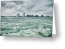 Downtown Windsor Canada City Skyline Across River In Spring Wint Greeting Card