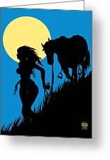 Downwind Evening Yellow Moon Greeting Card