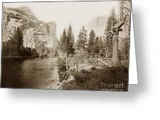 Domes And Royal Arches From Merced River Yosemite Valley Calif. Circa 1890 Greeting Card