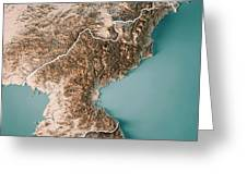 Dpr Korea 3d Render Topographic Map Neutral Border Greeting Card