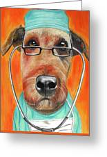 Dr. Dog Greeting Card by Michelle Hayden-Marsan
