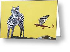 Dragon And Zebra Greeting Card