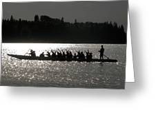 Dragon Boat Silhouette Greeting Card by Stuart Turnbull
