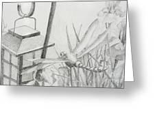 Dragon Fly And Lantern Greeting Card