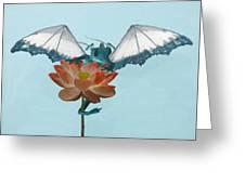Dragon Peeks Around Flower Greeting Card