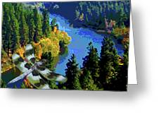 Dragonflight Over The Spokane River Greeting Card