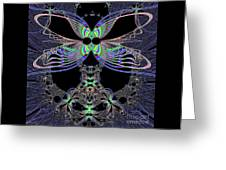 Dragonfly Queen At Midnight Fractal 161 Greeting Card