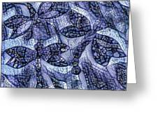 Dragons In Blue Mosaic Greeting Card