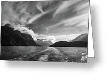 Dramatic Clouds And Alpine Scenery At Lake Manapouri  Greeting Card