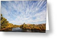 Dramatic Clouds Over Boise River In Boise Idaho Greeting Card