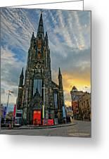 Dramatic Edinburgh Sunset At The Hub In Scotland  Greeting Card