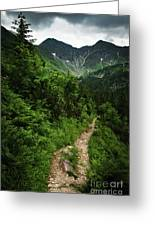 Dramatic Mountain Landscape With Distinctive Green Greeting Card