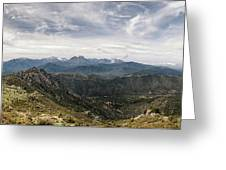 Dramatic Panoramic View Of Snow Capped Mountains Of Northern Cor Greeting Card
