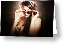 Dramatic Pin Up Fashion Photograph Greeting Card