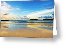 Dramatic Scene Of Sunset On The Beach Greeting Card