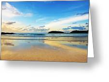 Dramatic Scene Of Sunset On The Beach Greeting Card by Setsiri Silapasuwanchai