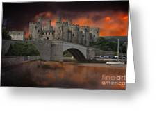 Dramatic Sky Over Castell Conwy Greeting Card
