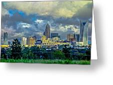 Dramatic Sky With Clouds Over Charlotte Skyline Greeting Card