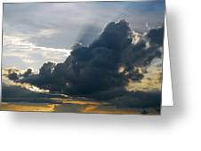 Dramatic Sky With Crepuscular Rays Greeting Card