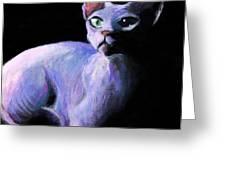 Dramatic Sphynx Cat Print Painting Greeting Card