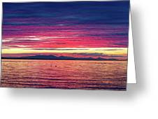 Dramatic Sunset Colors Over Birch Bay Greeting Card