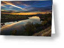 Dramatic Sunset Over Boise River Boise Idaho Greeting Card