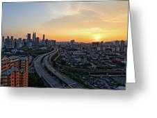 Dramatic Sunset Over Kuala Lumpur City Skyline Greeting Card